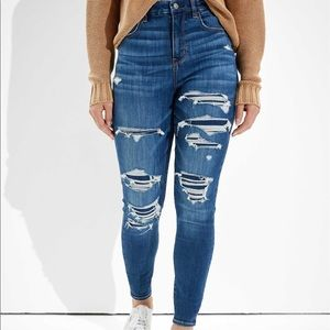 American Eagle Ripped Curvy Super High Rise Jeggings, Blue Size 8R